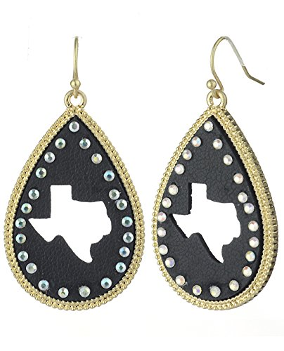 (Women's Faux Leather Texas Silhouette Teardrop Dangle Pierced Earrings, Black/Gold-Tone)