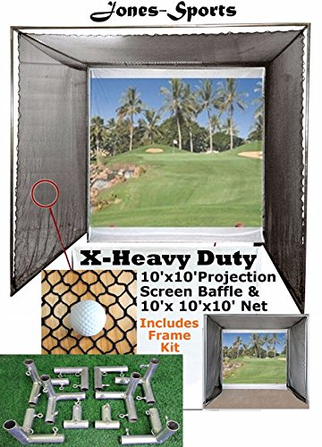 Jones Sports 10' x10' Golf Impact Projection Screen Baffle &10'x10'x10' Net with or Without Frame (with Frame)