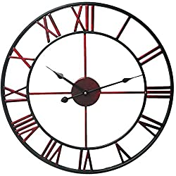 Fcoson Vintage Metal Clock Hollowed-out Roman Numeral Silent Clock 20-inch Large Round Decorative Clock for Living Room Bedroom Kitchen Wine Red