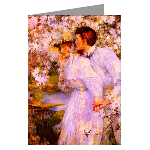 Springtime Oil Painting (Six Greeting Cards Of Sir James Jebusa Shannon Romantic Oil Painting Titled In The Springtime)