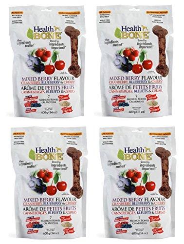 Dog Treats 14 Oz Bag - Omega Paw Health Bone Medium Berry Dog Treats, 14-ounce Bags - 4 Bags