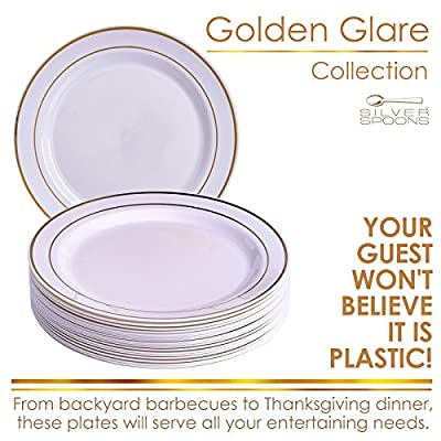 PARTY DISPOSABLE 20 PC DINNERWARE SET | Heavy Duty Disposable Plastic Dishes | Elegant Fine China Look
