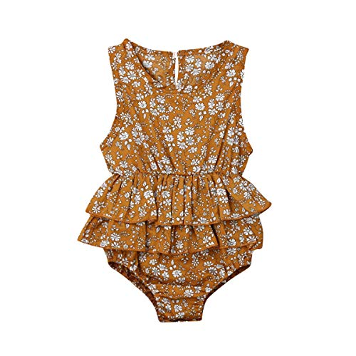 Newborn Kids Baby Girls Round Neck Sleeveless Floral Romper Jumpsuit with Waist Double Ruffles Edge(12-18M,Mustard Yellow)