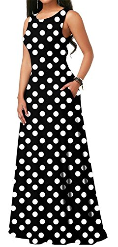 Dot Black Fashion Evening Sleeveless Pockets Maxi s Out Dress Polka Women Hollow Domple wRfqaHBOax