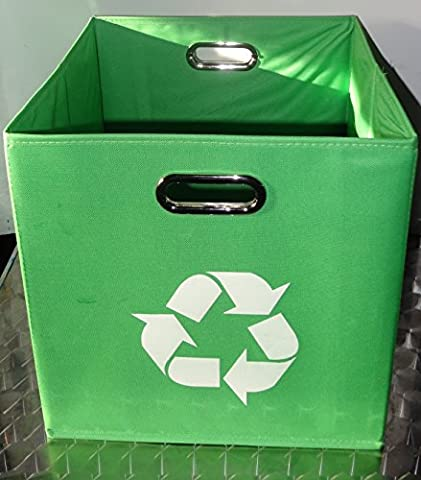 Green Folding Designer Recycle Bin 13x13x13x inch by Alexi Ricci ideal for recycling of Newspapers - Magazines office papers Great for Office-- Under Kitchen Sink -- Dorm Room -- Under - Paper Recycling Bin