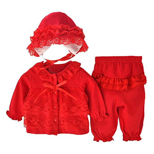 Allywit Newborn Infant Baby Girls Clothing Lace Cardigan+Long Pant+Cap Hat Set Outfit (Size:0-3Month, Red)