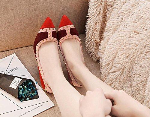 Sandalias del ms remaches deletrea color talones acentuados de la boca baja femenina salvaje de Europa y América bien con un solo zapato de cuero Red