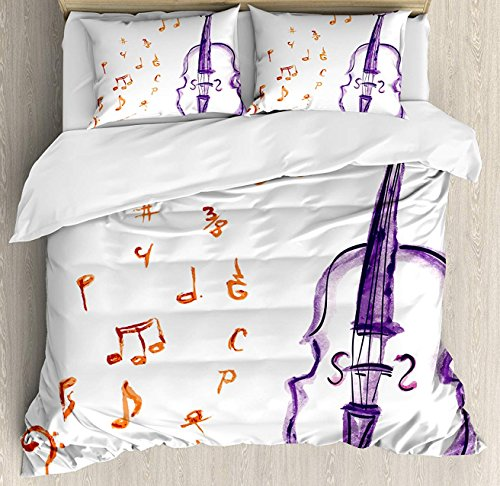 OUR WINGS Music Duvet Cover Set Queen Size, Musical Notes Instrument Violin Cello in Watercolors Style White Backdrop Print, Decorative 4 Piece Bedding Set with 2 Pillow Shams, Purple and -