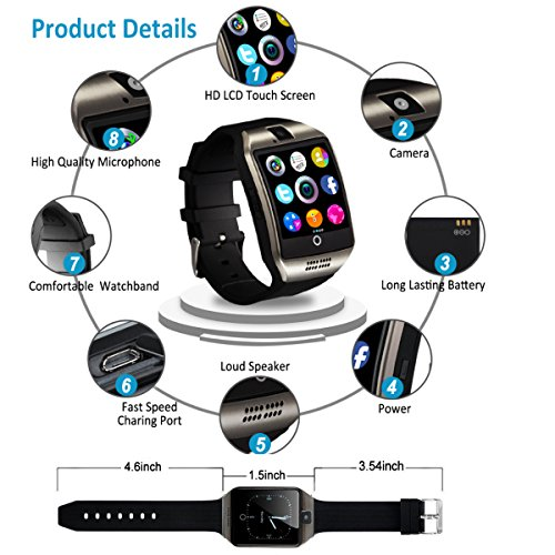 Bluetooth Smart Watch Touchscreen with Camera,Unlocked Watch Cell Phone with Sim Card Slot,Smart Wrist Watch,Waterproof Smartwatch Phone for Android Samsung IOS Iphone 7 6S Men Women Kids by Luckymore (Image #5)