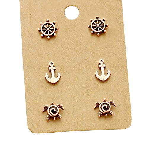s Women's 3 Pairs Nautical Stud Earrings