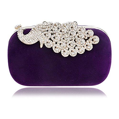 de 2x4x6inch Violet de femme Rose soirée Forfait paon Rouge Sacs pour Pochette en main cristal d'embrayage 5x10x16cm à dîner diamant CxUxn4wHf5