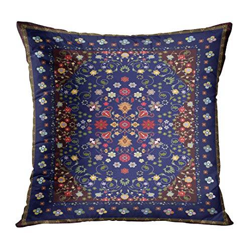 Turkish Carpet Designs - TOMKEYS Throw Pillow Cover Blue Persian Floral Carpet Design Brown Oriental Turkish Decorative Pillow Case Home Decor Square 20x20 Inches Pillowcase