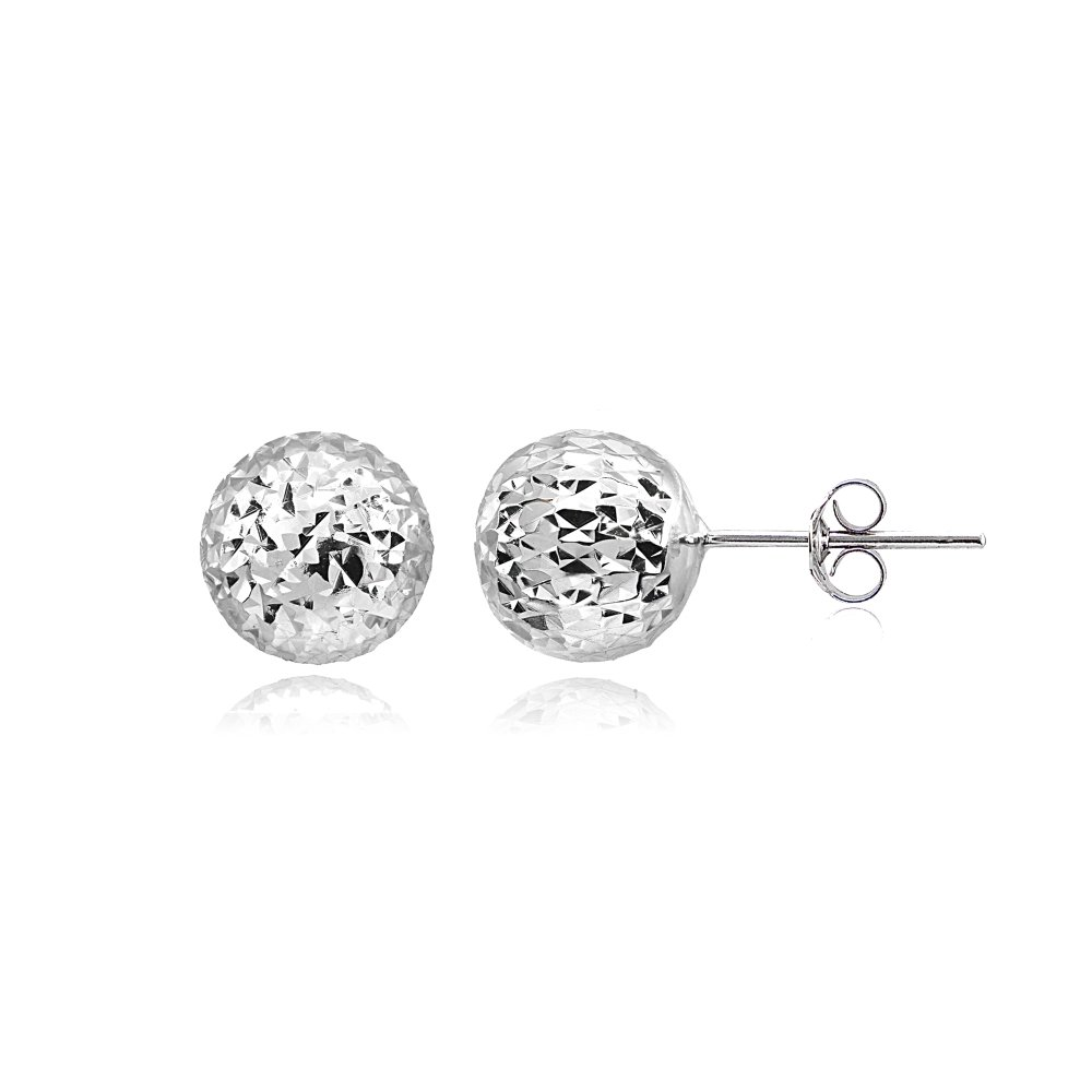 8mm or 10mm Sterling Silver Polished Diamond-Cut Ball Bead Stud Earrings
