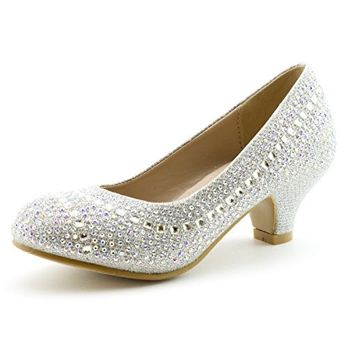 Link Cassie-28K Girls Rhinestone Platform Peagent Dress Shoes