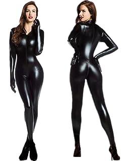 HGOOD Lencería Sexy Mujer Latex Bodysuit Mono Ropa Interior Camisón Wetlook  Negro C c9463a8e8fa5