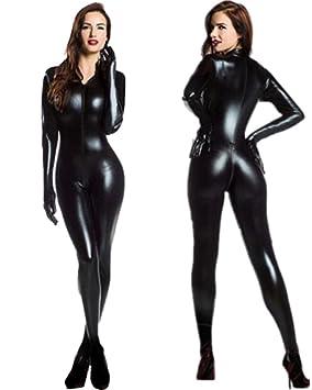 HGOOD Lencería Sexy Mujer Latex Bodysuit Mono Ropa Interior Camisón Wetlook Negro Clubwear Cosplay Catsuit Costume
