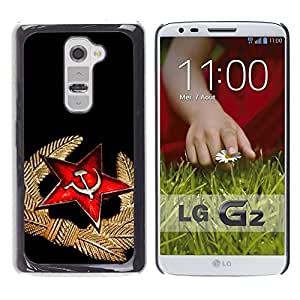 FECELL CITY // Duro Aluminio Pegatina PC Caso decorativo Funda Carcasa de Protección para LG G2 D800 D802 D802TA D803 VS980 LS980 // Black Red Medal Star Cap Russia