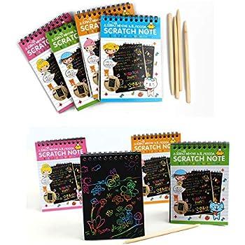 Amazon com: 4 Pack Scratch Art Notes Rainbow Sketch