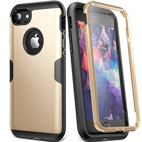 YOUMAKER Case for iPhone 8 & iPhone 7, Full Body Rugged with Built-in Screen Protector Heavy Duty Protection Slim Fit Shockproof Cover for Apple iPhone 8 (2017) 4.7 Inch - Gold/Black