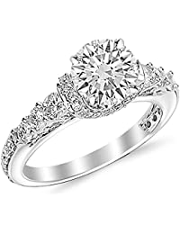 2 Carat Round Cut Designer Four Prong Round Diamond Engagement Ring (I-J Color, SI2-SI3 Clarity)