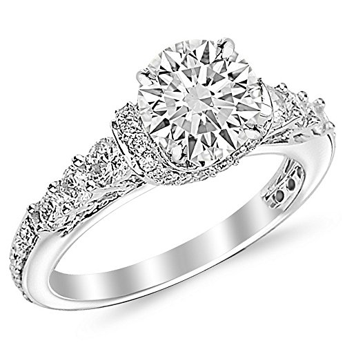 2 Carat Round Cut Designer Four Prong Round Diamond Engagement Ring (I-J Color, SI2-SI3 Clarity) (Engagement Ring 2 Carat Diamond)