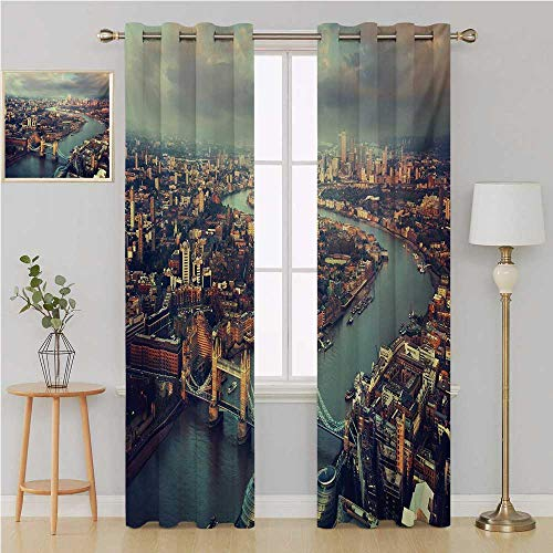 Benmo House London Gromit Curtains Thermal Insulated Blackout CurtainsPanoramic Picture of Thames River and Tower Bridge Famous Cityscapedoorway Curtain 108 by 108 InchOrange Beige Almond Green