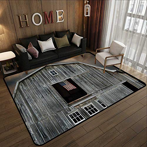 Bathroom mats and Rugs,Farmhouse Decor Collection,American Flag Flying in a Hayloft Window Wooden Old House Dark Evening View,Beige Dimgrey 71