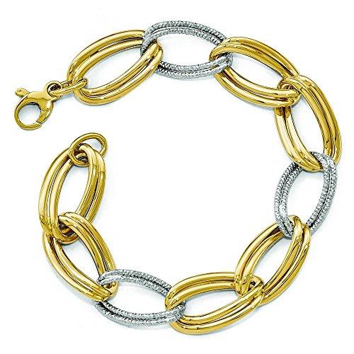 """14 carats-Bicolore-fantaisie de taille diamant poli Bracelet lien - 8 """"- JewelryWeb"""