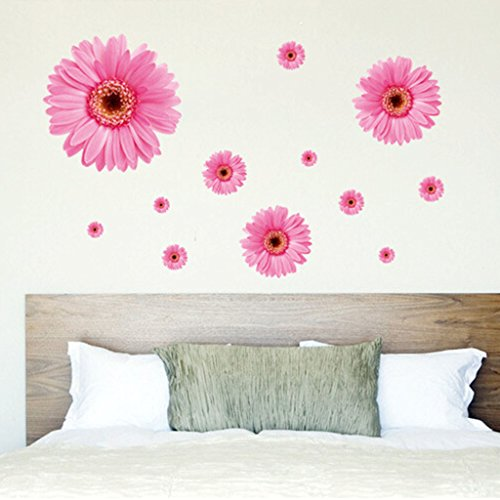 HuntGold 3D Lovely Pink Daisy Flower Home Bedroom Decal Removable Wallpaper Wall Sticker ()
