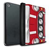 STUFF4 PU Leather Book/Cover Case for Apple iPad 9.7 (2017) tablets / Solar Red Design / Classic Retro Mini Collection
