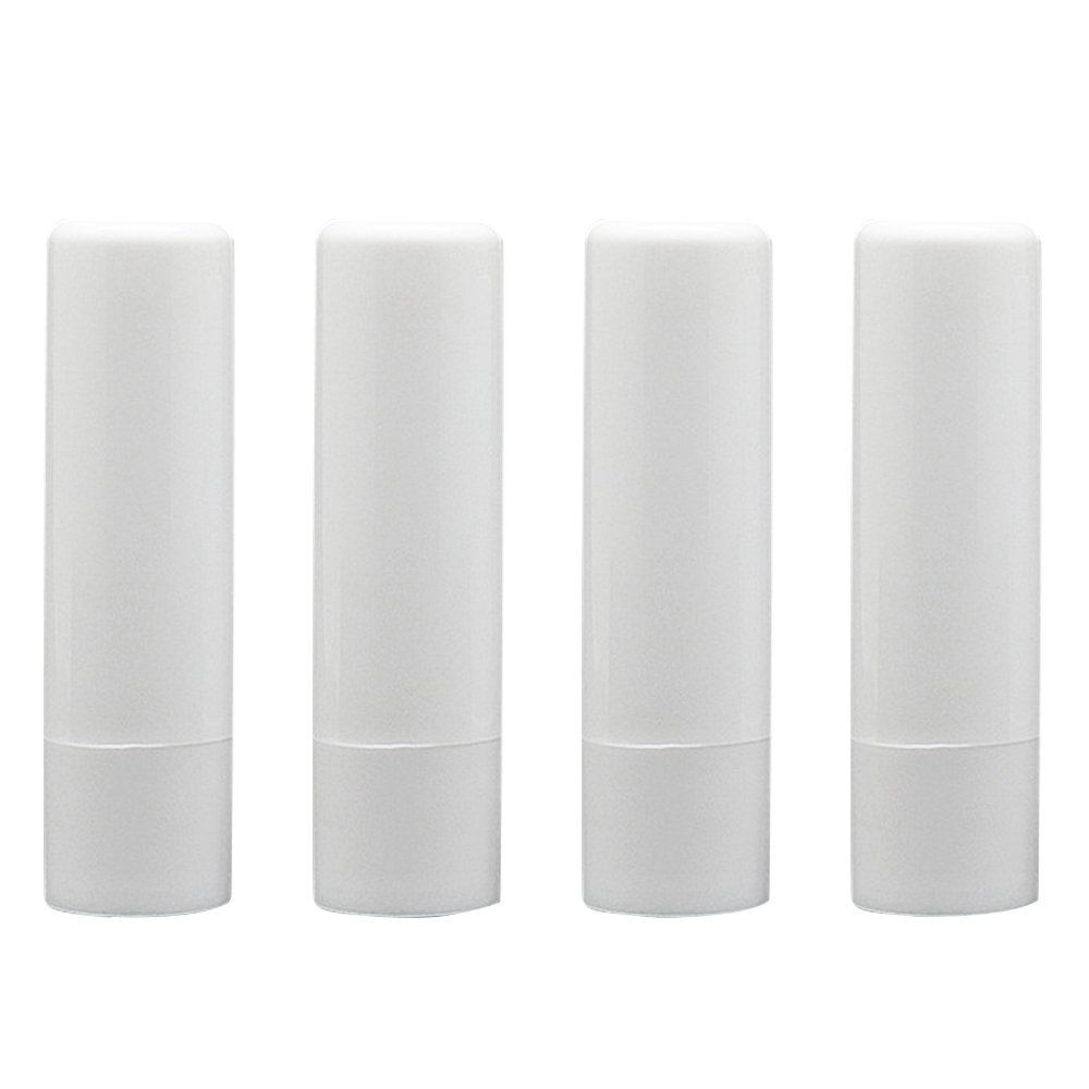Elisona-25 PCS 4.8G DIY Refillable Empty Plastic Lip Balm Lipstick Stick Tube Bottle Container White