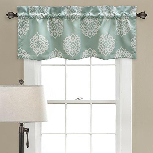 Lush Decor 16T000214 Sophie Room Darkening Window Curtain Valance Set, 18 inch x 52 inch, Blue