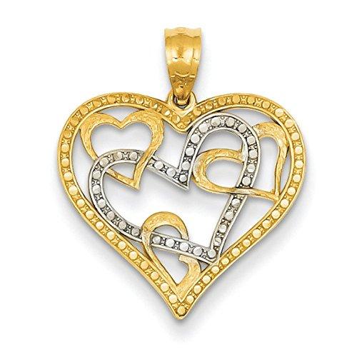 14 carats et Rhodium taille diamant pendentif coeur-JewelryWeb
