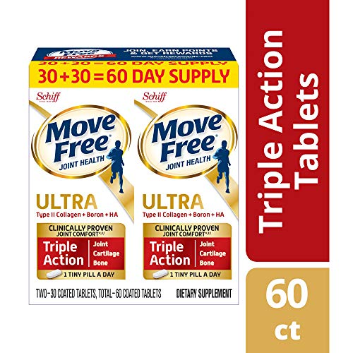 Joint Formula Powder - Type II Collagen, Boron & HA Ultra Triple Action Tablets, Move Free (60 count in a value pack), Joint Health Supplement With Just 1 Tiny Pill Per Day To Promote Joint, Cartilage and Bone Health