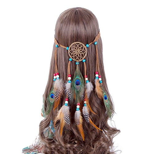 Hippie Headband Feather Dreamcatcher Headdress - AWAYTR New Fashion Boho Headwear Native American Headpiece Hippie Clothes Peacock Feather Hair Accessories]()