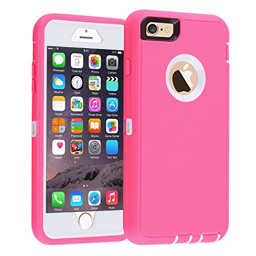 iPhone 6/6s Case,[Heavy Duty] Armor 3 in 1 Built-in Screen Protector Rugged Cover Dust-Proof Shockproof Drop-Proof Scratch-Resistant Tough Shell Case for Apple iPhone 6/6s 4.7 inch (Pink) ()
