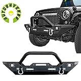 AUTOSAVER88 07-16 Jeep Wrangler JK Rock Crawler Front Bumper + High Power LED Lights + D-Rings