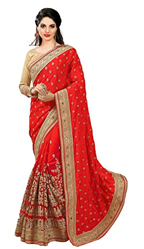Nivah Fashion Women's Dhupion Silk & Net Half N Half Real Diamond With Embroidery Dori Work Saree K579(Red)