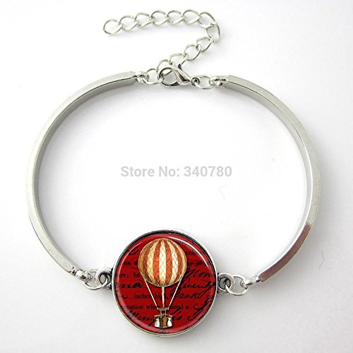Rose Home fire balloon bangleRed Book Pages Art Pendant banglesilver glass Cabochom charm bracelets hot gift for firends GL011 (Bella Glass Tiles)