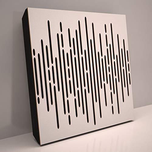 4pcs. Sound Absorption-Diffuse Acoustic Panel «Wave» for rec.studio | Wood laminated: (White)