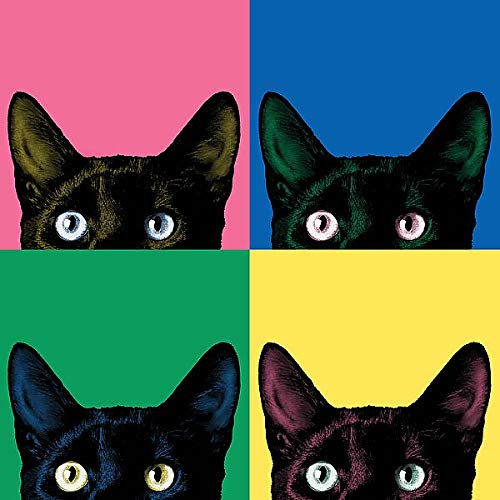 Art, Inc. Curiosity Pop by Jon Bertelli Pets Cats Animals Funny Humor Print Poster, Overall Size: 14x14, Image Size: 12x12 ()