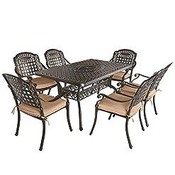 Garden and Outdoor Aoboco OKIDA 7 Piece Outdoor Cast Aluminum Patio Dining Set, Conversation Furniture Set for Patio Deck Garden with 1… patio dining sets