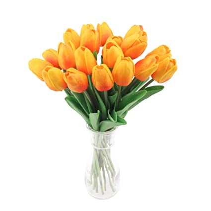 cherrboll Ramo de Tulipanes Artificiales, Flores de Tacto Real, Ramo de Novia, Ramo