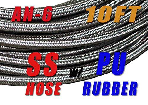 -6 AN AN6 Stainless Steel Braided Fuel Line Hose E85 8.3mm (5/16) - Price for 10FT SSAN6-10FT