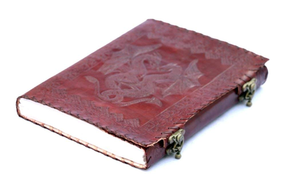TUZECH Handmade Leather Journal Double Dragon 2 Latches Embossed Diary Notebook Sketchbook 10x7 by Tuzech