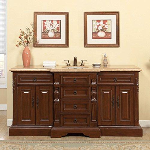 Raised Panel Column (Silkroad Exclusive V0280TW72C Bathroom Vanity Travertine Top Single Sink Cabinet, 72