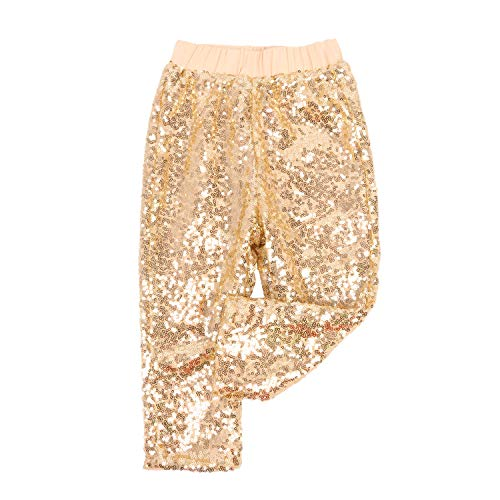 Cilucu Leggings for Baby Girls Toddler Sequin Pants Kids Birthday Clothes Sparkle on Both Sides DK Gold 6T]()
