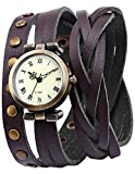 AMPM24 Lady Women Wrap Around Bracelet Brown Long Leather Quartz Watch WAA341