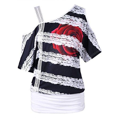 HITRAS Women Blouse Fashion Womens Casual Skew Neck Strapless Floral Print T-Shirt (M, White)