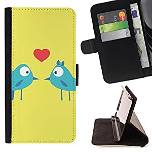 BullDog Case - FOR/HTC One M7 / - / birds love kiss heart lovers blue art cartoon /- Monedero de cuero de la PU Llevar cubierta de la caja con el ID Credit Card Slots Flip funda de cuer